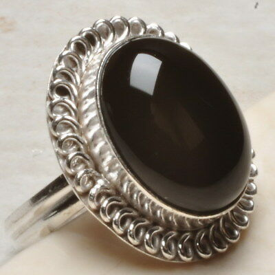 Natural Black Onyx Gemstone 925 Sterling Silver Plated Ring Sz 9