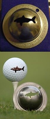 1 only TIN CUP GOLF BALL MARKER GREAT WHITE SHARK -  sounds like Greg Norman