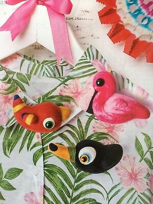 needle felting pattern crafts hobbies tropical flamingo toucan macaw brooche