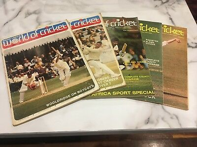 World Of Cricket Monthly Magazines 1973 & 1974, 5 Different