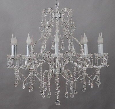French Chic 10 Arm Silver Iron Chandelier With Genuine Glass Crystals-Rrp$1299