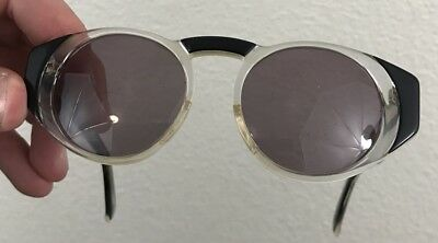 Vintage Charles Jourdan Clear And Black Round Gray Lens Sunglasses