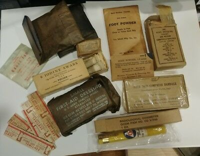 Lot of ORIGINAL WW2 US Army Medical Personal Supplies Grouping WWII