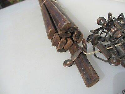Antique Wooden Stair Rods Vintage Art Deco Wood Old x11 Rod & 28 clips - 75cm