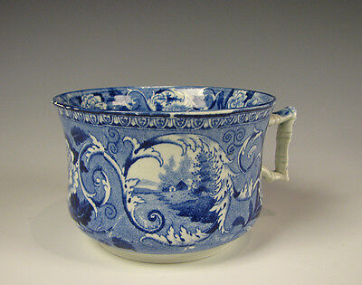 Antique Dark Blue Staffordshire Transferware Handled Mug c. 1825 English Pottery
