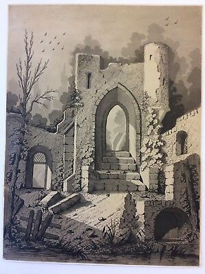 """NICE SIZE ORIGINAL Pen & Ink Drawing 13"""" X 9 3/4"""", remains of an old  building"""