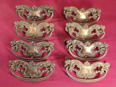 "8 Antique Drawer Pulls Matching Victorian Fancy Furniture Handles 3"" spread"