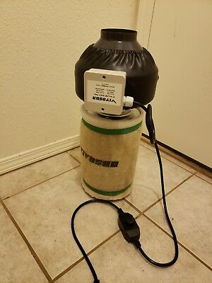 """USED VIVOSUN 4"""" inch Inline Duct Fan w/ Speed Controller & Carbon Filter Combo"""