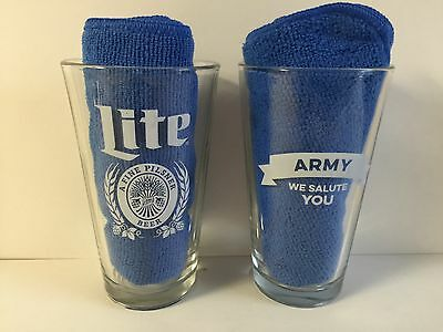 Miller Lite Army ~ We Salute You Pint Glass ~ Set of Two (2) Glasses ~ NEW