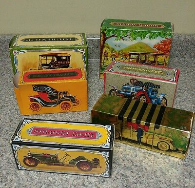 Lot of 6 Antique/Vtg Avon Bottles/Decanters with  Boxes ~ Old Cars ~ After Shave