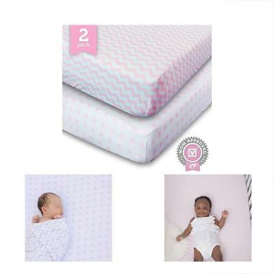 Sale Crib Sheet, Toddler Bedding Fitted Jersey Cotton (2 Pack) Chevron, Dot,
