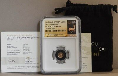 2017 South Africa Gold 1/50 Krugerrand 50th Anniversary PF70 UCAM NGC