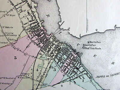 Newburyport downtown Essex County Mass. 1872 detailed old map hand color
