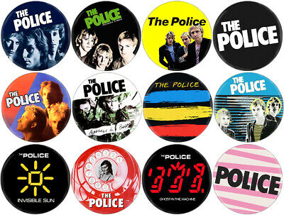 Police - Lot of 11 badges (pins, buttons, spille, Sting, Devo, Ramones, Clash)
