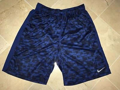 Mens Nike Dri Fit Training Basketball Running Shorts Blue Black Large Exel Cond!
