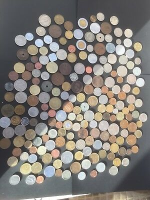 Job Lot Of Old Vintage Coins From Around The World . 200 coins , .99p