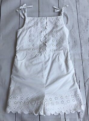 Janie and Jack Size 6 White Eyelet Romper Bows Shoulder July 4th Beach