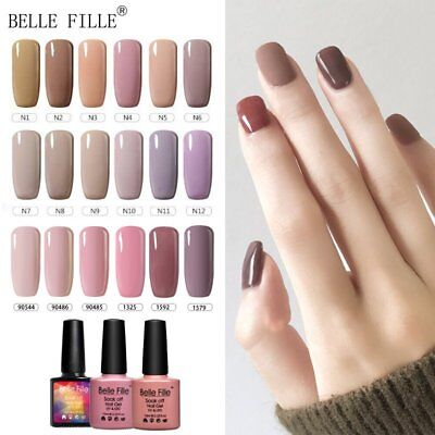 BELLE FILLE 30 Colours Nude Pink Series Nail Polish Art UV/LED Nail Gel Top&Base