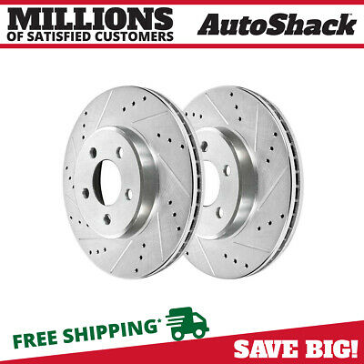 2 Rear Drilled Slotted Performance Rotors Pair For 98-08 Subaru Forester 96121