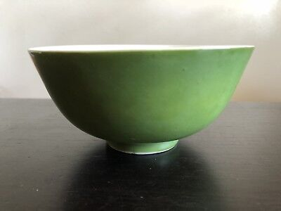 Fine Old Chinese Monochrome Green Porcelain Rice Bowl Scholar Art NR