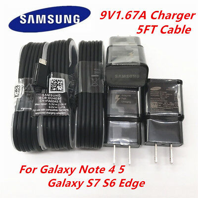 OEM Samsung Galaxy S6 S7 Note4 5 Edge Fast Wall Charger 5FT Micro USB Cable LOT