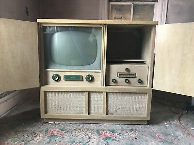 Vintage Antique 1950's Silvertone Television, Radio, Record Player Combo Console