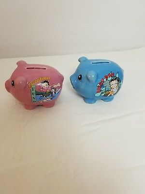 """Betty Boop, Piggy Banks, Set of 2, """"Vacation Fun"""" and """"Rainy Day"""""""