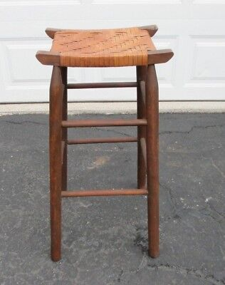 "Old Rustic Primitive Saddle Stool w/ Woven Seat in Excellent Condition 30"" Tall"