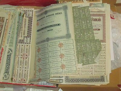 50 ALL DIFFERENT STOCK + BOND CERTIFICATES SETS ALL ANTIQUE FOREIGN MANY pre1950