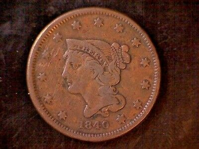 1840 Braided Hair Large Cent - Small Date - Beautiful!