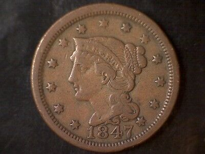 1847 Braided Hair Large Cent - Beautiful!