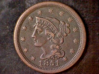 1851 Braided Hair Large Cent - Beautiful!