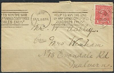 Australia  KGV 1d red rough paper cover used 17 7 1918