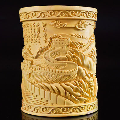 Chinese Boxwood Hand Carved The Great Wall Exquisite Brush Pot RB009+1