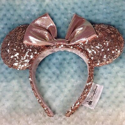 Disneyland Rose Gold Minnie Mouse Ears Sequins Headband Disney BNWT Authentic