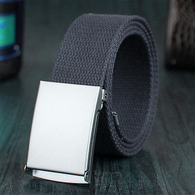 Mens Unisex Cotton Canvas Fabric Webbing Buckle Army Belt Adjustable 110cm