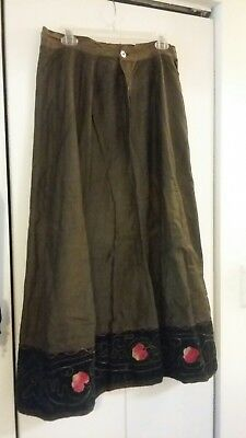 Antique Victorian Beautiful Olive & Dark Green Embroidered Quilted Leaf Skirt