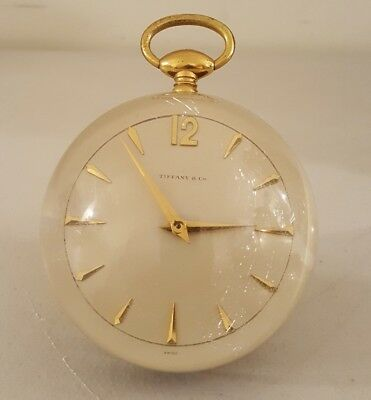 Vintage TIFFANY & Co Mid Century Deco Lucite Swiss Windup Desk Paperweight Clock