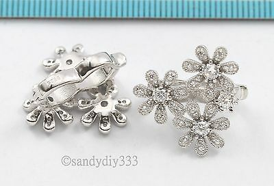 1x RHODIUM plated STERLING SILVER FLOWER CZ PEARL SHORTENER ENHANCER CLASP #2796