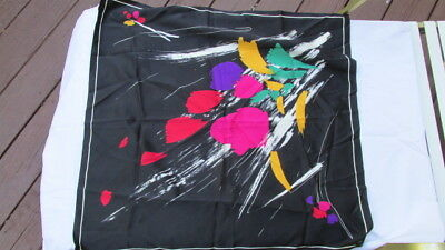 """Vintage Ladies SCARF Black w/ Abstract Bright Colorful Splotches 26"""" square"""