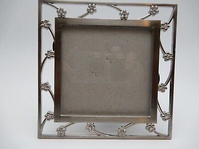 ELSAL Silver Brushed Metal & Rhinestone Floral Photo Picture Frame 3 1/4 Inch