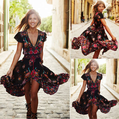 Women Boho Long Maxi Evening Party Dress Summer Casual Beach Sundress  Plus Size