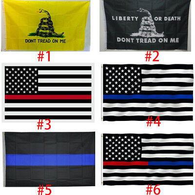 Thin Blue Red Line Trump USA Flag Police Law Firefighter 3x5ft Don't Tread On Me