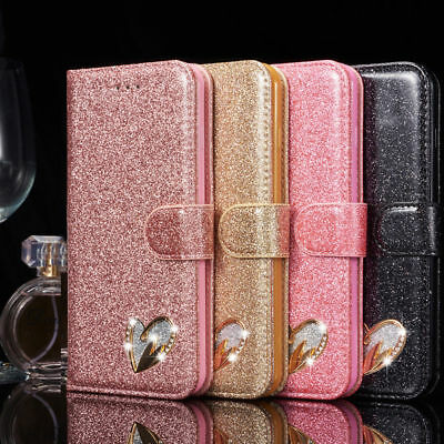 Bling Diamond Magnetic Wallet Leather Case Cover for Samsung Galaxy S10 S9 S8 S7