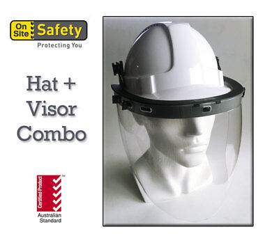 Vented Hard Hat and High Impact Face Shield  Certified Australian Standard WHITE