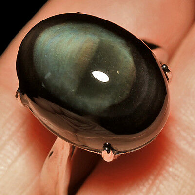 21.9CT 100% Natural 18K Gold Plated Mexican Rainbow Obsidian Ring UDRO22