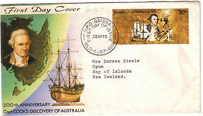 "1970 FDC. Captain Cook Bicentenary.  30c on Cook cover to NZ. FDI ""GPO BRISBANE"""