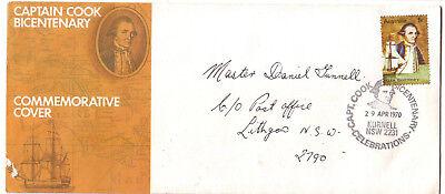 "1970 FDC. Captain Cook Bicentenary.  APO cover. Pictorial Postmark ""KURNELL"""