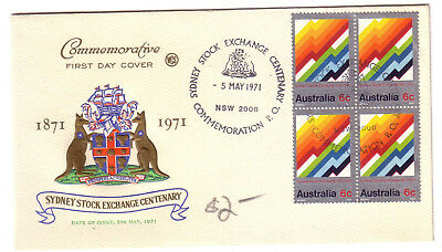 1971 Pict.PMK on FDC. Sydney Stock Exchange. Block 4. Numbered 4239. Nice cover.