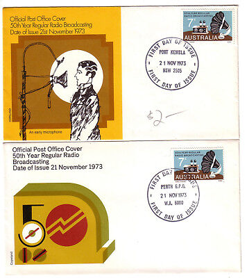 1973 FDC. 50 th year Regular Radio Broadcasting.  2 x APO covers.